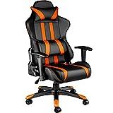 TecTake Silla de oficina ergonomica racing gaming con soporte lumbar - disponible en diferentes colores - (negro naranja | no. 402233)
