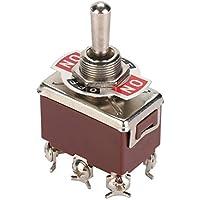 Interruptor de Palanca de 5 Piezas, Interruptor de Palanca de 6 Pines ON-OFF-ON de 250 V 15A, con Orificio de Montaje de 12 mm