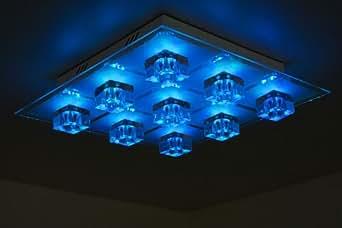 Plafonnier avec changeur de couleur led et t l commande luminai - Luminaire avec telecommande ...