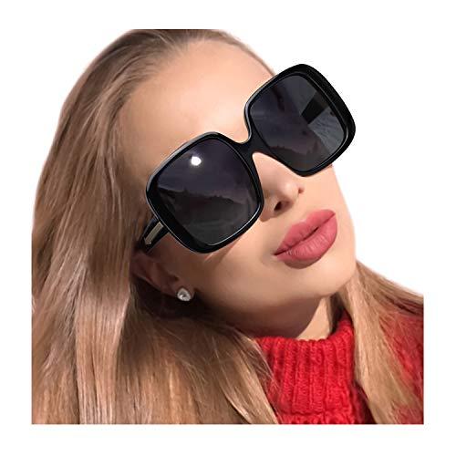 MuJaJa Polarisierte Sonnenbrille Damen Vintage Übergroße Sonnenbrillen -100% Schutz vor UVA- und UVB (Schwarz)