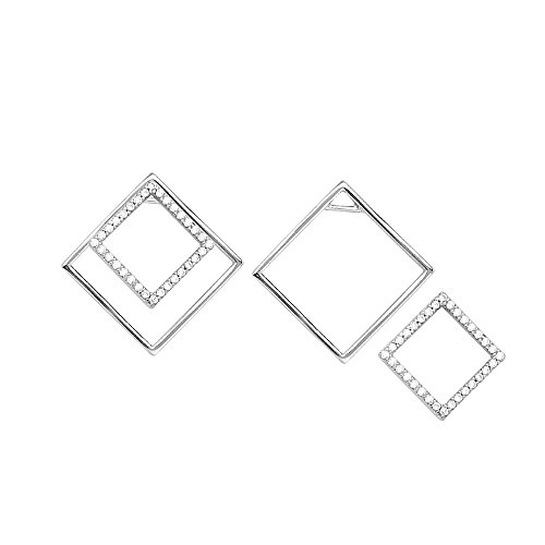 Sterling Silber rhodiniert Zirkonia Diamant Form Ohrringe Mit Uni Diamant Form Jacke