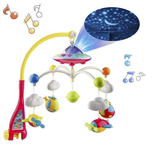 Mobile Baby mit Musik und Licht Halterung, Sternenhimmel Projector Funktion und Cartoon-Rasseln, Spieluhr mit 108 Melodien, Spielzeug für den Neugeborenen Schlaf