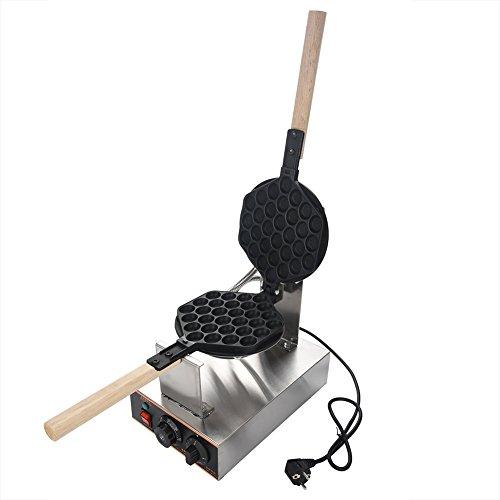 Horno eléctrico para gofres con molde de acero inoxidable y máquina para hacer gofres redondos de 220 voltios con placa de cocción antiadherente y selector de temperatura e interruptor de tiempo 1400W