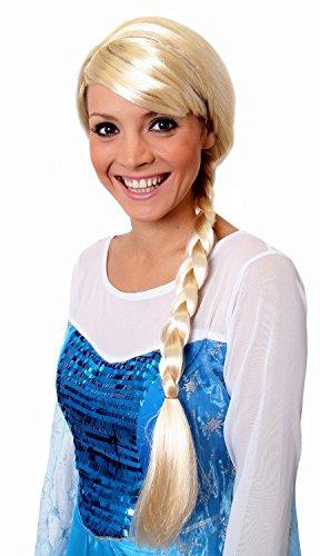 Perruque blonde pour adulte de la Reine des glaces avec une tresse.