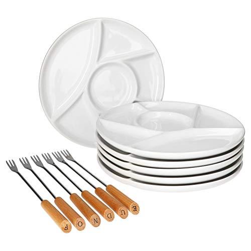 MamboCat Chalet Fondueteller weiß - 12-TLG. Set I Je 6X Schalen + Gabeln I Standard, Käse- oder Schokofondue I Fondue Plates I Fondue - Zubehör