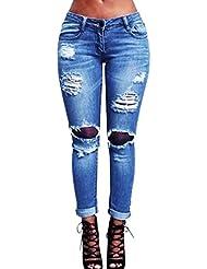 Sannysis pantalones mujer jeans, pantalones mujer rotos vaqueros (L)