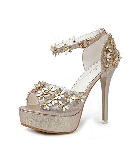 WZG Die neuen ultra-dünne Fersen Art und Weise wasserdicht Sandalen mit Blumen Wort Schnalle Schuhen Gold