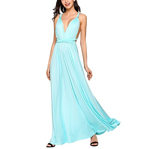 Frauen Sexy Lange Abendkleid Elegant V-Ausschnitt Bodenlangen Multi-Way Party Cocktailkleid Brautjungfer Kleider (S, Hellblau)