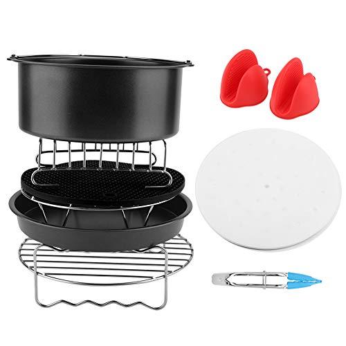Zubehör für Airfryer Heißluftfritteuse, 9Pcs/set Air Fryer Accessories Kit 8 Inch Enthält Kuchenfass/Pizzateller/Silikonmatte/Grill usw(Schwarz)