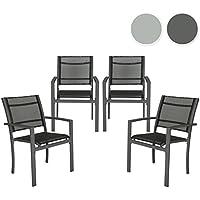 TecTake Juego de 4 Sillas de jardín sillón balcón terraza silla de exterior | gris oscuro