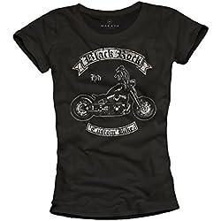 Black Rock Moto - Camisetas moteras graciosas para mujer negras L