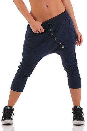 Malito Damen Kurze Hose mit Knopfleiste   Chino Hose in Unifarben   Baggy zum Tanzen   Sweatpants - Trainingshose 8015 (dunkelblau) 3/4 Baggy Pants