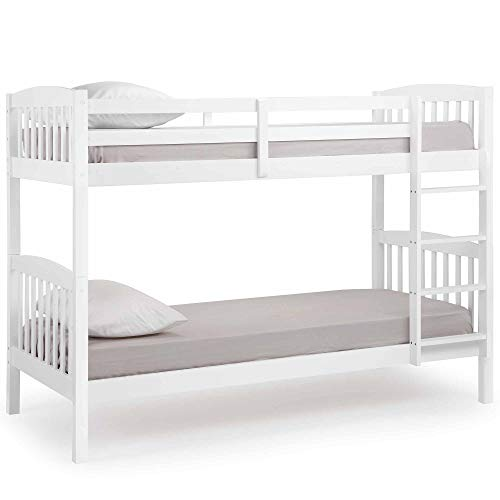 VonHaus Wooden Bunk Bed Frame - Stylish White Pine Bedroom Furniture - Can be split into to 2 Standard 3FT Single Beds (Mattresses not included)