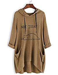 b689c9f7547 Fullnoon Ladies Girls Cute Cat Printed Hooded Sweatshirt with Ears Casual  Loose Cropped Pullover with Pockets