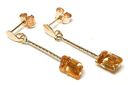In oro 9 k con smeraldo taglio Madeira-Orecchini pendenti con quarzo citrino