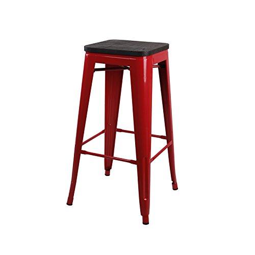 Preisvergleich Produktbild GIA rot 76, 2 cm Metall Hocker mit Sitz aus Holz (1 Stück) – Bar Höhe quadratisch Rückenfrei – Tolix Style – Gewicht Kapazität von 300 Plus Pfund – Bereit zu verwenden – Extra Stabiler und stapelbar