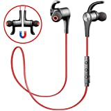 SoundPEATS Oreillette Bluetooth 4.1 magnétique, écouteur sans fil pour sport & jogging, casque anti-transpiration, reduction du bruit pour Iphone,Ipad, Samsung,Sony Lecteur MP3/4(Q12 Rouge)