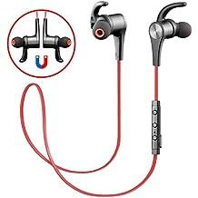 Auricular magnético SoundPEATS Auriculares Bluetooth 4.1 Cascos inálambrico Deportivos, tecnología APTX y de Ruido de Cancelación CVC 6.0,Sonido Estéreo de calidad superior--Q12(Rojo)