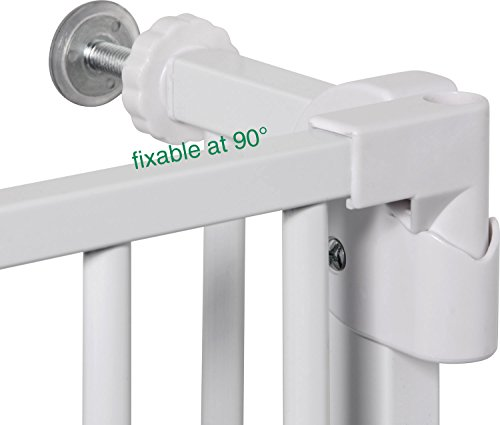 IB-Style – Treppengitter / Türgitter MIKA | Erweiterbar durch Verlängerungen | 75 – 175 cm | Auto-Close – automatisches Schließen | 90° Fixierung | Metall Weiß| Spannbreite 75 – 85 cm - 6