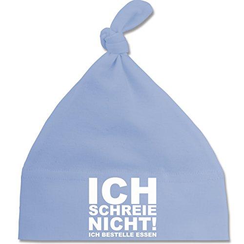 Sprüche Baby - Ich schreie nicht, ich bestelle Essen! - Unisize - Babyblau - BZ15 - Baby Mütze mit einfachem Knoten als Geschenkidee
