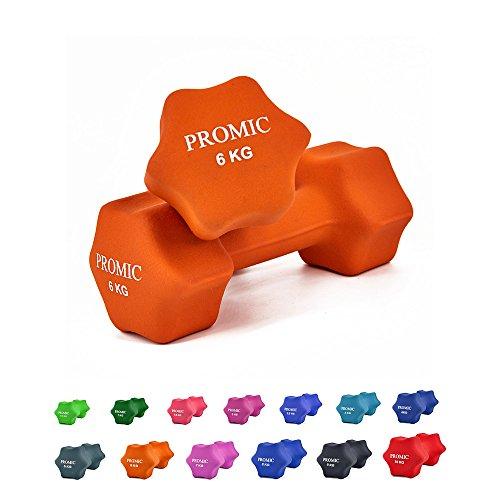 PROMIC  Neopren Hanteln Gewichte für Gymnastik Kurzhanteln- ideal für Aerobic & leichtes Fitnesstraining, 13 verschiedene Gewichte und Farben zur Auswahl (2er-Set), 2 x 6 kg, Orange