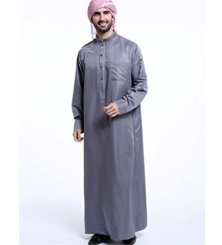 Dreamskull Muslim Abaya Dubai Muslimisch Islamisch Arab Arabisch Indien Türkisch Casual Festlich Kaftan Robe Kleid Maxikleid Herren Männer Grau