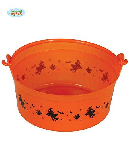 Halloween Süßigkeiten Eimer Deko Süßes oder Saures sammeln orange 24 x 11 cm (Halloween Eimer)