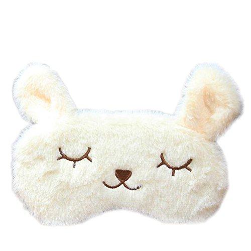 Qifumaer Schlafmaske, weiche Schlafmaske, Schlafmaske, Flauschige Augenmaske, für schlafende Cartoon-Hase, Plüsch, Augenbinde mit heißer Kälte, Doppelpflege, Gesundheits-Brille (beige)