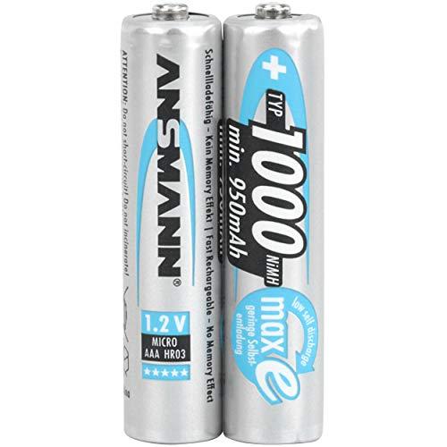 ANSMANN Micro AAA Batterie 1000mAh NiMH Caméra très capacitif numérique professionnel Batterie (2 pack)