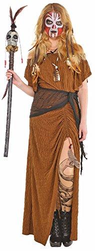 Voodoo Priesterin Kostüm für Damen - Gr. M L - Hochwertiges Kleid mit Tuch - perfekt zu Hexe, Indianerin oder Zigeunerin - Halloween, Karneval, Mottoparty