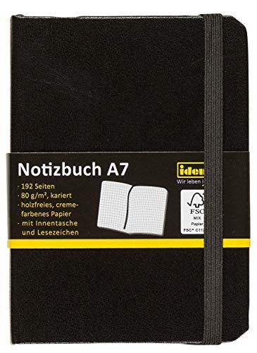 Idena 209283 - Notizbuch DIN A7, 192 Seiten, 80 g/m², kariert, schwarz, 1 Stück -