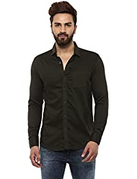 Mufti Button Down Plain Olive Full Sleeves Shirt