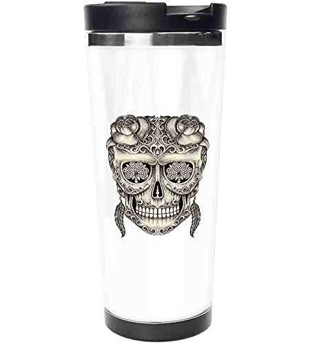 Travel Mug-Spanischer Zuckerschädel mit Rosen, Libellenaugen, Federn und Ohrringen Artwork Edelstahl Kaffeebecher & Tasse-Thermobecher mit spritzwassergeschütztem Schiebedeckel-14oz