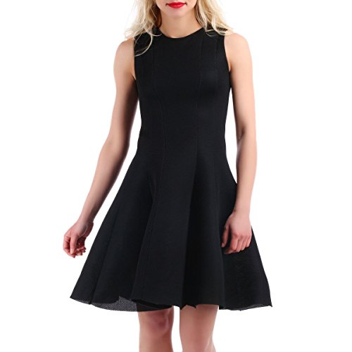 La Modeuse - Robe patineuseeffet texturé Noir