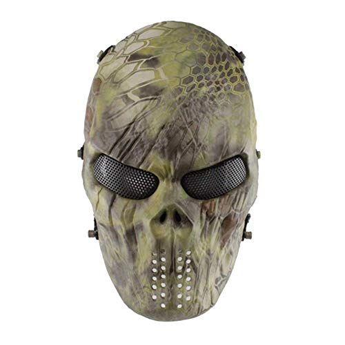 QHWJ Halloween Zombie Maske, Field Camouflage Python Serpent Zombie Army Unisex Erwachsene Schädel Maske, Room Escape Prom Kostüm Party Haunted House Bar Live CS Requisiten,style2 (Python Kostüm)