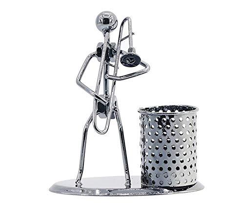 HMILYDYK Schreibtisch-Ornament aus Eisen Messing für Zuhause, Büro, Retro-Band, Musiker, Stifthalter, Schreibtisch-Organizer, Posaune (Posaune Ornament)