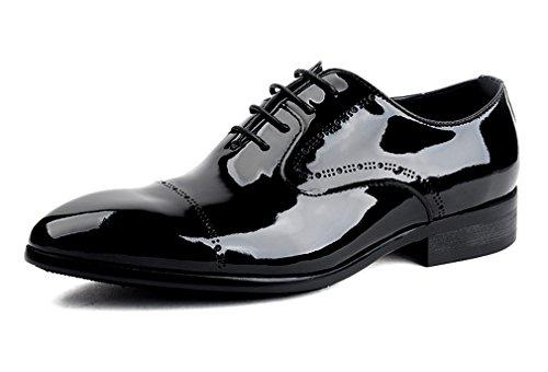 Leder-fahrer-schuhe (Dilize Herren Glanz Schwarz Echt Leder Derby Schuhe mit GAP Fuß, Schwarz - schwarz - Größe: 44 EU)