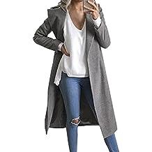 Scothen Abrigo de lana de invierno con estilo de las mujeres, chaqueta con gabardina con capucha Mujeres de estilo militar con capucha de lana de la correa