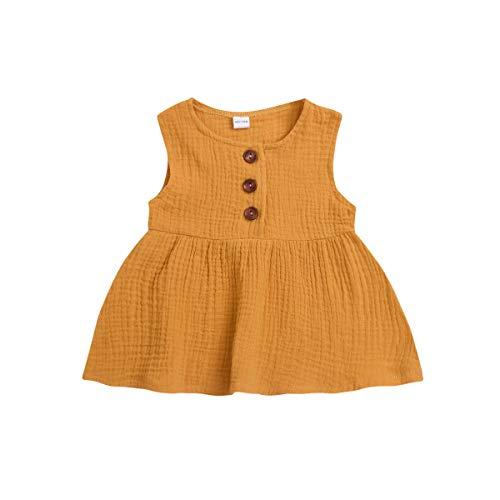 Kleinkind Mädchen Kleid Kleidung Sets Kids Baby Mädchen Einfarbiger ärmelloser Rock mit Knöpfen