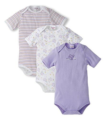 Schnizler Baby - Mädchen Body im 3er Pack kurzarm Mäuschen, Alloverdruck und geringelt, Gr. 62 (Herstellergröße: 62/68), Violett (flieder 10)