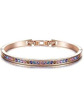 FANCYDELI Rosegold Damen Armband Armreif mit österreichen Kristallen für Frauen Freundin Mutter