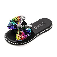 Yuan Fashion Summer Children Kids Baby Girls Bling Sequins Crystal Princess Slipper Shoes Sandals Sequins Rhinestones Bow Sequins Princess Home Outdoor Slippers Sandals Black