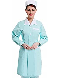 Xuanku Enfermera Farmacia Belleza Uñas Pie Desgaste Collar De Bata Blanca Manga Larga Overoles Machihembrada