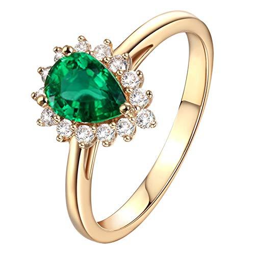 Daesar Ring 18 Karat Gold Damen Blume 1.05 Ct Smaragd mit Diamant Solitärring Trauring Partner Ring Gold Größe 62 (19.7)