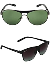 Creature Green & Black Wayfarer Sunglasses Combo With UV Protection (Lens-Green & Black||Frame-Grey & Black||SUN...
