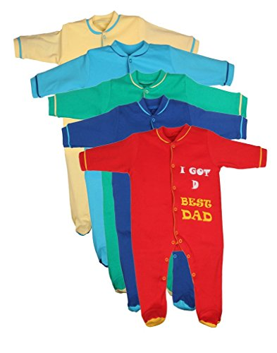 Gkidz Infants Sleep Suit Pack of 5 (INF-5PCK-SSUIT-RED-YLW-TUQ-GRN-ROY-6-12M_ Red_ Multicolor_ Green_6-12 Month)