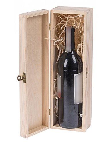 (Amazinggirl Weinbox klappbar Weinflaschen aus Holz Natur zum bemalen Decoupage Weinpräsent Holzgeschenkbox für Wein Holzkiste Aufbewahrung)