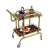 Trolley YXX Edelstahl Home Bar Wein Servierwagen mit Silent Rädern, 2-Shelf Hotel Dining Servierwagen