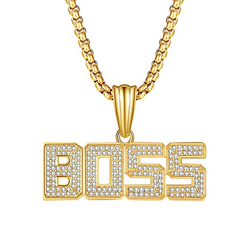 ZJFFMY Hip Hop Halskette Anhänger Persönlichkeit Brief BOSS Hip Hop Halskette Europäische und Amerikanische Mode Straße Zubehör