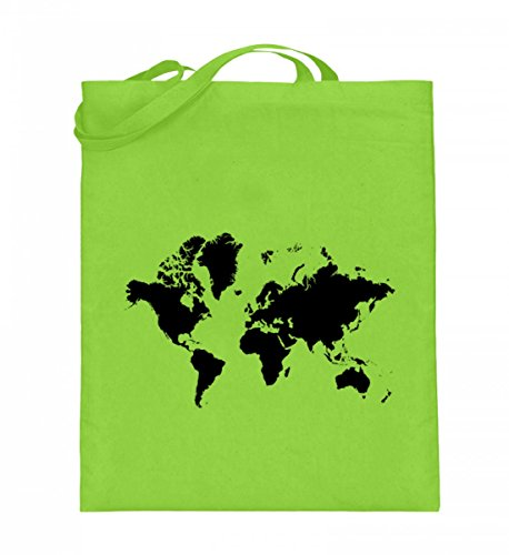 Borsa In Juta Di Alta Qualità (con Manici Lunghi) - Juta Bag World Map Lime Green